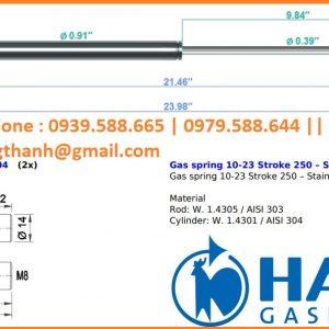 Inox Hahn gas spring